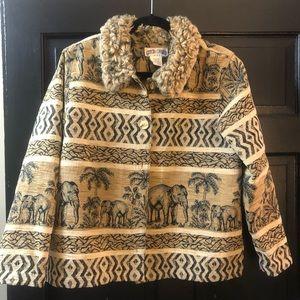 Faux fur collar Afrique thème jacket